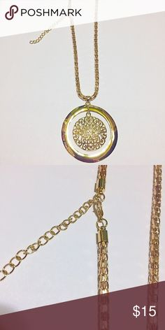 "1 Double Pendant Metal Necklace New Color: Gold Necklace Size: 18"" + 2"" L Decor Size: 2.5""L New with tags.                                                Bundle and save All jewelry and hair accessories has been reduced already, get an additional 15% when you bundle 3 plus items Farah Jewelry Jewelry Necklaces"