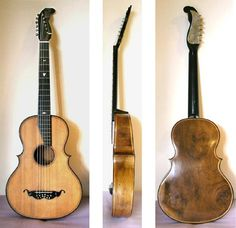 Guitar D'Amore, 6 strings with 6 additonal sympathetic strings; stunning combo of guitar with cello-violin style construction.