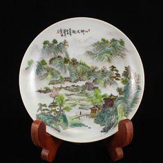 Famille Rose Porcelain Plate W Mountain River Scenery 中國清代 粉彩瓷器盤子