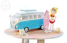Surfer girl Kombi cake, complete with figurine handcrafted from sugar