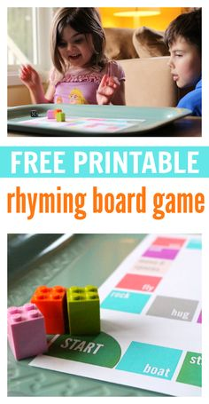 Print this rhyming board game out for free! Print this rhyming board game out for free! Rhyming Activities, Kindergarten Literacy, Language Activities, Early Literacy, Literacy Activities, Activities For Kids, Literacy Skills, Literacy Stations, Therapy Activities