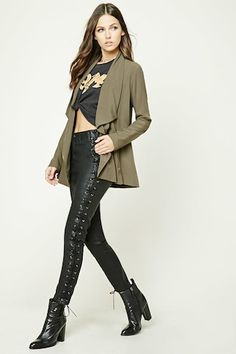 a7106328684e2 Asymmetrical Cowl Neck Jacket $27.90 Cowl Neck, Latest Trends, Duster Coat,  Forever 21