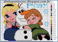 Elsa, Olaf and Anna - Frozen  pattern by Dinha Ponto Cruz