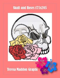 Skull and Roses Skulls And Roses, Plastic Canvas, Cross Stitch, Knitting, Crochet, Pattern, Tricot, Crossstitch, Breien