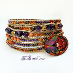 Gypsy Wrap Bracelet Beaded, Purple Orange Bracelet Handmade, Bohemian Six Wrap Bracelet by MSwithlove on Etsy