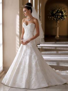 Strapless Lace A-Line Bridal Gown Helen David Tutera Mon Cheri- I love this dress!