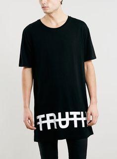 01f13af0b641 Black Oversized Longline Fit Truth T-Shirt