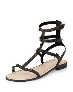 Georgina Studded Gladiator Sandal, Black, Women's, Size: 6.5B - Rebecca Minkoff