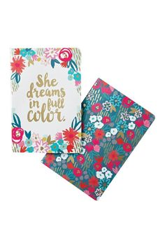 """She Dreams in Full Color Notebooks with lay-flat spines and lined pages these notebooks are designed to travel everywhere you do and look beautiful while doing it. Each one is a stylish accessory a source of inspiration and a tool for your everyday. Softcover with elastic band.Each set includes 2 journals.  Measures8.5"""" H x 5.75"""" W 64 lined pages  Lifestyle Notebook by Compendium. Home & Gifts - Gifts - Stationery & Office Texas"""