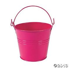 Hot Pink Pails With Handles - Oriental Trading