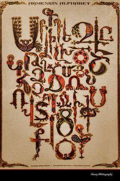 the armenian alphabet in beautiful traditional trchnagir (bird-writing)