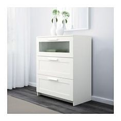 IKEA - BRIMNES, chest, white/frosted glass, , Of course your home should be a safe place for the entire family. That's why hardware is included so that you can attach the chest of drawers to the wall.Smooth running drawers with pull-out stop. Long Dresser, 4 Drawer Dresser, 3 Drawer Chest, Drawer Unit, Chest Of Drawers, Trendy Furniture, Home Furniture, Furniture Design, Bedrooms