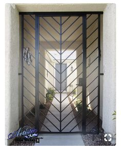 Modern Wrought Iron Gates Entry Gate Style Entryway Model Beautiful Security Front Door For Home Wrought Iron Security Doors, Wrought Iron Doors, Security Gates, Window Security, Steel Security Doors, Metal Gates, Iron Front Door, Front Gate Design, Window Grill Design