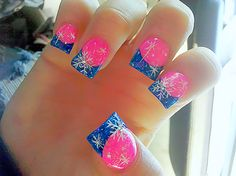 Winter barbie flared nails #hot pink #blue