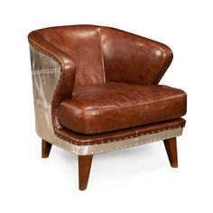 Inject some serious style into your living room with this tough and unique club chair. The cognac-colored leather is artfully aged for softness, and makes a sharp contrast with a gleaming, riveted meta...  Find the Metal Back Club Chair, as seen in the When Industrial Took Flight Collection at http://dotandbo.com/collections/when-industrial-took-flight?utm_source=pinterest&utm_medium=organic&db_sku=MOE0003