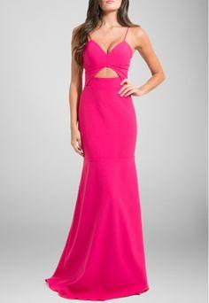ea991d4006bd POWERLOOK - Aluguel de Vestidos Online - Vestido Alba longo abertura na  cintura Unity7 - rosa