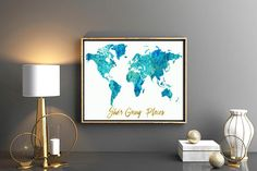 Girls room decor Watercolor blue teal world map pink map with