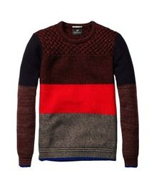 Crew Neck Pull With Bold Block Stripe > Mens Clothing > Pullovers at Scotch & Soda