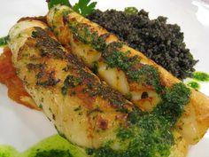 calamar con couscous negro