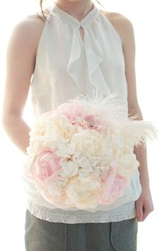 Hydrangea and Peony bouquet white paper hydrangea, cream and pink peony, soft white feathers wedding bouquet, $325.00