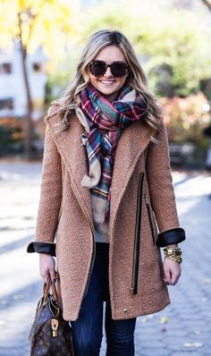 #street #style / knit coat + plaid scarf