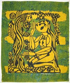 "Sadao Watanabe woodblock print on handmade Japanese paper--""Eve & The Serpent"" via  Scriptum Inc Berkeley CA."