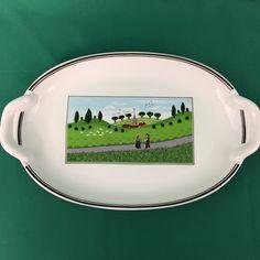 Villeroy & Boch Design Naif 2 Handle Oval Dish Country Scene Pickle Tray  #VilleroyBoch
