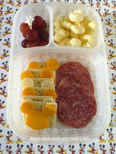 Provolone and cheddar cheese slices on top of some crackers, nitrate free salami, Pirate's booty and seedless grapes. Kids Lunch For School, Healthy School Lunches, Healthy Snacks, Toddler Lunches, Toddler Dinners, Kid Lunches, Toddler Food, Lunch Snacks, Kid Snacks