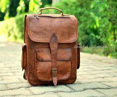Handmade Padded Leather Laptop Bag Backpack Rucksack Men School Satchel | eBay