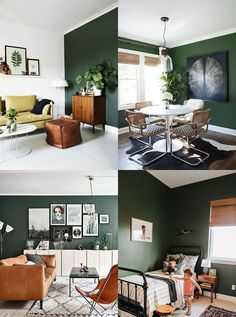 4 ways to adopt green in your decor - Blueberry Home - - Living Room Green, Bedroom Green, Green Rooms, Living Room Decor, Bedroom Decor, Blueberry Home, Deco Design, Salon Design, Living Room Color Schemes