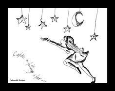 Catch a Falling star black and white ink sketch print by Cadouxdle
