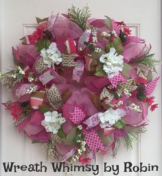Spring Rose Pink and Moss Green Silk Floral by WreathWhimsybyRobin