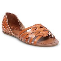 Women's Gena Wide Width Strappy Flat Huarache Sandals Mossimo Supply Co. - Cognac (Red) 5W, Size: 9.5W