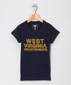 Navy 'West Virginia' Glitter Lulu tee WVU