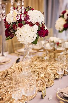 Gold, Red, and White Wedding Details from Grand Event Rentals in Seattle