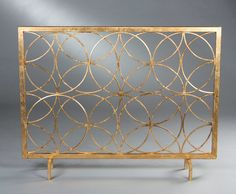 Instantly update the look of your home with this gorgeous antique gold circles iron fireplace screen. Fireplace screen is decorative only, no mesh screen included. Tv Over Fireplace, Fireplace Bookshelves, Small Fireplace, Concrete Fireplace, Fireplace Screens, Faux Fireplace, Country Fireplace, Cottage Fireplace, Fireplace Kitchen