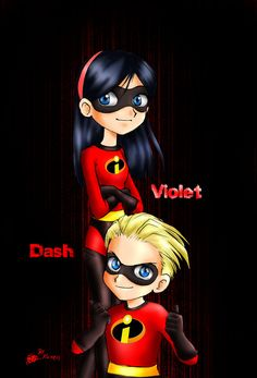 """Those are Dash and Violet from the movie """"the incredibles"""", Anime style. The incredibles Disney Magic, Disney Art, Disney Movies, Disney And Dreamworks, Disney Pixar, Dash The Incredibles, Brad Bird, Picture Cards, Disney Drawings"""