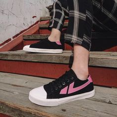 Comfortable Black and Pink Lace up Casual Canvas Shoes Hui Li Sneaker you best choice for School, Going out -TOP Design by FSJ Pink Lace, Lace Up, Summer Boots, Leather Shoes, Denim Shoes, Strappy Heels, Shoes Heels, Long Boots, Canvas Sneakers