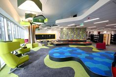 Springfield Library - Children's area designed by CK Design International in association with Complete Urban . Exclusive: first look inside the New Springfield Library - Ipswich First Booth Design, Play Areas, Urban, Exhibit, Cnc, Flat, Playgrounds, Ballerinas, Flat Shoes