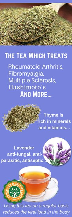 Using this tea on a regular basis reduces the viral load in the body, therefore it is great in case of rheumatoid arthritis, Hashimoto's thyroiditis, vertigo, fibromyalgia, multiple sclerosis, chronic fatigue syndrome, tinnitus, and lupus. Drinking thyme