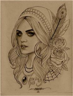 Gypsy girl - I love the detail in this and thought it would make a really nice tattoo in colour or black & grey Tattoo Girls, Gypsy Girl Tattoos, Gypsy Soul Tattoo, Pirate Girl Tattoos, Trendy Tattoos, New Tattoos, Tattoos For Women, Cool Tattoos, Mädchen Tattoo