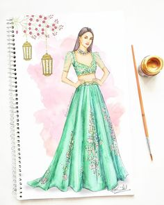 Beautiful in an exquisite lehenga by inspired by grand European courtroom gowns with floral embellishments 💚 Dress Design Drawing, Dress Design Sketches, Fashion Design Sketchbook, Fashion Design Drawings, Dress Drawing, Fashion Sketches, Art Sketchbook, Dress Illustration, Fashion Illustration Dresses