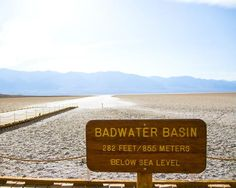 Death Valley's Badwater Basin is an endorheic basin, noted as the lowest point in North America, with an elevation of 282 ft below sea level. (Mount Whitney, the highest point in the contiguous 48 states, is only 85 miles to the WNW.) California