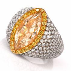 Estate 8.85cts Fancy Yellow Orange Diamond 18K Gold Engagement Ring