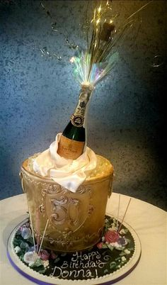 champagne bottle cake, anniversary cake...