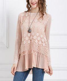 Look at this #zulilyfind! Pink Crochet Pleat Layer Tunic - Plus #zulilyfinds