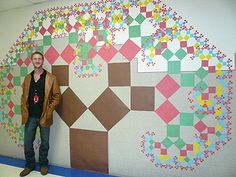 Pythagorean Tree (picture only but you get the idea!) What a cool integration of math and art. Geometry Activities, Math Activities, Math Art, Fun Math, Maths, 10th Grade Math, Eighth Grade, Math Classroom Decorations, Math Enrichment