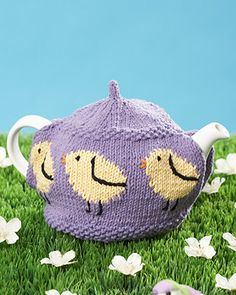 Lily Sugar'n Cream - Little Chicks Tea Cozy (free knitting pattern) #easter