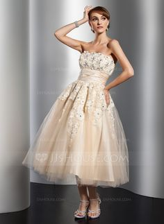 A-Line/Princess Strapless Tea-Length Satin Tulle Wedding Dress With Ruffle Lace Beading Flower(s) (002014765) - JJsHouse