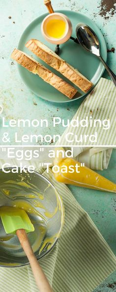 """Trompe L'Oeil Eggs and Toast. Lemon pudding """"eggs"""" with lemon curd yolks and fennel seed cake """"toasts"""". A clever springtime or Easter dessert. via @blossomtostem"""